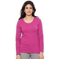 Clifton Womens Basic Full Sleeve Round Neck Majenta T Shirt