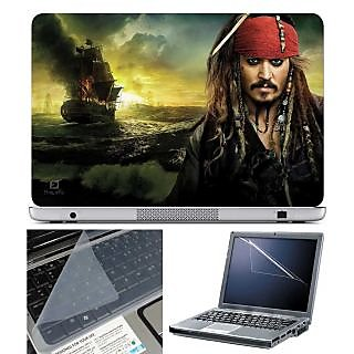 FineArts Laptop Skin Captain Jack Sparrow With Screen Guard and Key Protector - Size 15.6 inch