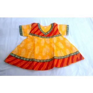 Bijou Kids Anarkali Kurti Yellow