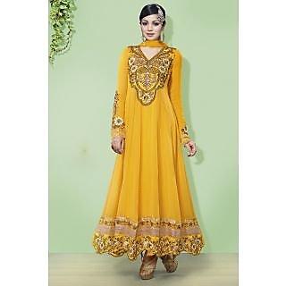 Stylish Georgette Yellow Semi-Stitched Anarkali Suit.
