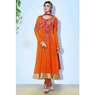 Dazzling Georgette Orange Semi-Stitched Anarkali Suit.
