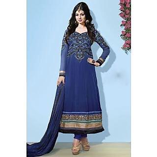 Elegance Georgette Blue Semi-Stitched Anarkali Suit.