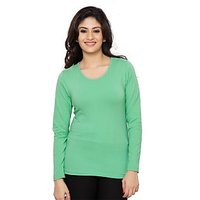 Clifton Womens Basic Full Sleeve Round Neck StumpGreen T Shirt