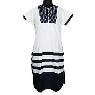 Faten White & Navy Kurti with short sleeves