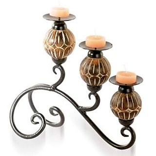 Onlineshoppee  Wooden and Metal 3 in 1 decorative Candle Stand (Wooden & Metal)