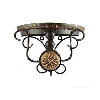 Onlineshoppee Beautiful wood & wrought iron small wall bracket