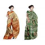 DivaSilk Printed Art Silk Saree Pack of 2 Sarees - D# 1018 & 1023