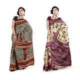 DivaSilk Printed Art Silk Saree Pack of 2 Sarees - D# 1027_1025