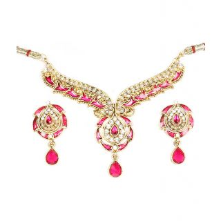 14Fashions Pretty Pink Pearl Choker Necklace Set - 1100416