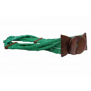 Just Women Fresh Green Wooden Beads Wide Belt