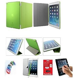 Ultra Thin Magnetic Smart Case Clear Back Cover Stand For Apple iPad Mini 2 Retina (Green) with Matte Screen Guard, Stylus, Wrist band + 16GB SANDISK EXTERNAL PENDRIVE