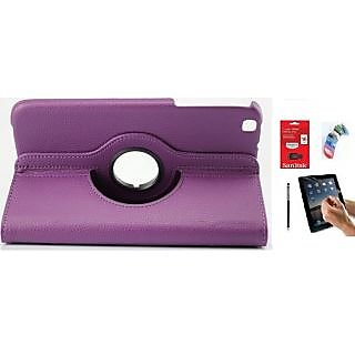 PU Leather Full 360 Rotating Flip Book Cover Case Stand for Samsung Galaxy Tab 3 T311 (Purple) with Matte Screen Guard, Stylus, Wrist band + 16GB SANDISK EXTERNAL PENDRIVE