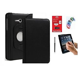 PU Leather 360 Deg Rotatable Leather Flip Case Cover For Samsung Tab 3 Neo T111 T110 Tablet (Black) with Matte Screen Guard, Stylus, Wrist band + 16GB SANDISK EXTERNAL PENDRIVE