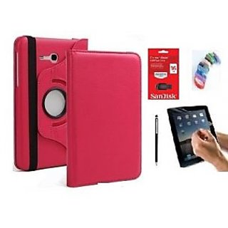 PU Leather 360 Deg Rotatable Leather Flip Case Cover For Samsung Tab 3 Neo T111 T110 Tablet (Pink) with Matte Screen Guard, Stylus, Wrist band + 16GB SANDISK EXTERNAL PENDRIVE