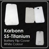 KARBON KARBONN Titanium S5  FLIP COVER CASE DIARY CASE BATTERY DETACHABLE WHITE