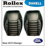 Accent - Art Leather Car Seat Covers - Rollex - Danell - Beige With Black