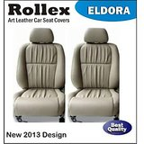 Wagon R 2009 And Earlier - Art Leather Car Seat Covers - Rollex - Eldora - Black With White