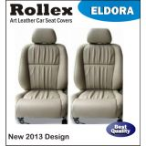 Accent - Art Leather Car Seat Covers - Rollex - Eldora - Black With Red