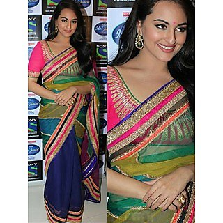 Bollywood Sonakshi Sinha Rainbow  Saree