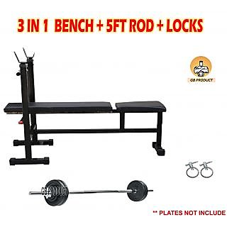 3 IN 1 BENCH + 5FT ROD + LOCKS