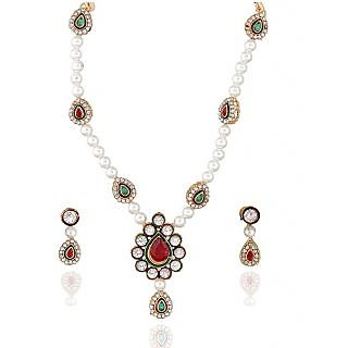 14Fashions Festive Pearl Necklace Set in Red & Green - 1100710