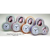 Family Photo Frame With Clock (Flower Shape)