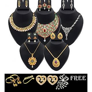 Kriaa Gold Plated 9 Pcs Jewellery Comco  -  1000126