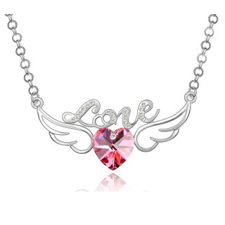 Crunchy Fashion Angel Wings Valentine Heart Necklace