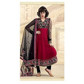 Gleaming Black & Brick Red Salwar Kameez