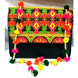 Bijou Kutchi Embroidered Sling Bag Black & Multi