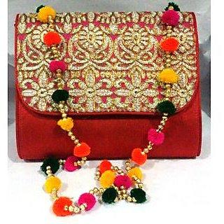 Bijou Kutchi Embroidered Sling Bag Red