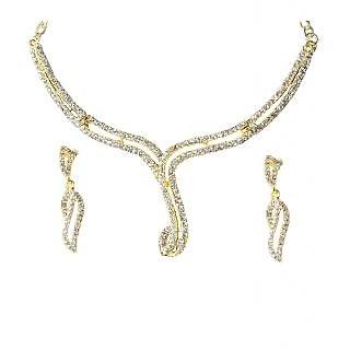 14Fashions Trendy Design White Stone Necklace Set - 1101327