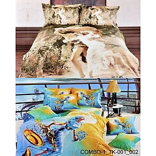 Valtellina Set Of 2 Bedsheets With 4 Pillow Cover (COMBO-1-TK-001_002)