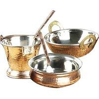 5 Pieces Copper Serving Set (Combo Of 1 Handi + 1 Kadai + 1 Basket + 2 Spoons)