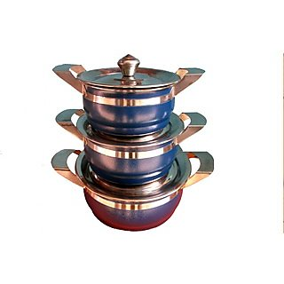 Colored Handis With Lid (Set Of 3)