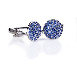 Speak Elegant Blue Crystals Studded Silver Cufflink