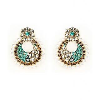 Kriaa Festive Sea Green Earrings  -  1300228