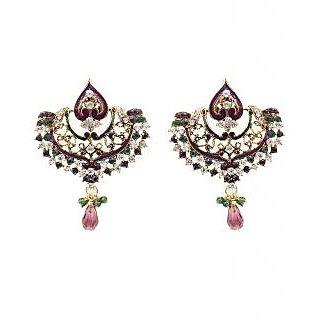 Kriaa Designer Drop Earrings in Purple & Green  -  1300323