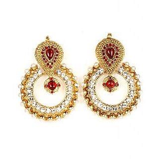 Kriaa Red Austrain Diamond Stone Earrings - 1300421