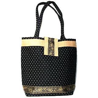 Jute  Handloom Cotton Handbag