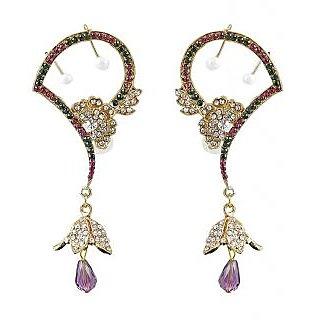 Kriaa Festive Drop Earring Purple & Green  -  1300538