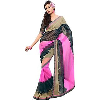 Fabdeal Pink  Grey Colored Chiffon Printed Saree