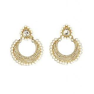 Kriaa Polka Earrings with Pearl in White  -  1300619