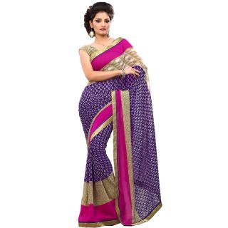 Fabdeal Violet Colored Chiffon Printed Saree