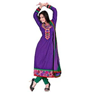 Aaliya Purple Colored Cotton Embroidered Dress Material