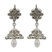 Kriaa Festive  Jhumki Earrings in White - 1300742