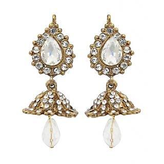 Kriaa Alloy Jhumki Design Earrings in White - 1300801