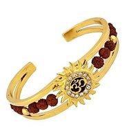 The Jewelbox Rudraksh American Diamond Gold Meena Om Sun Men Cuff Kada Bracelet