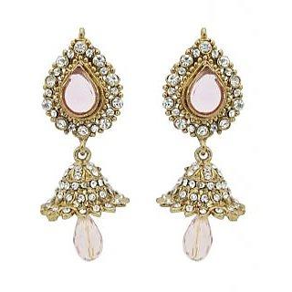 Kriaa Pretty Jhumki Earrings in White - 1300819