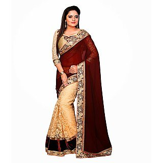 Ethnicbasket Party Wear Georgette & Net Brasso Saree (EBS10109683)